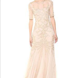 Adrianna papell 3/4 Sleeve beaded long gown sz 8